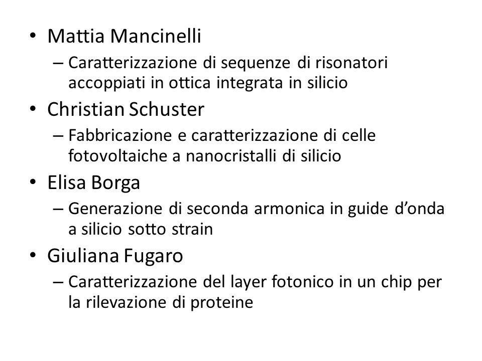 Mattia Mancinelli – Caratterizzazione di sequenze di risonatori accoppiati in ottica integrata in silicio Christian Schuster – Fabbricazione e caratte