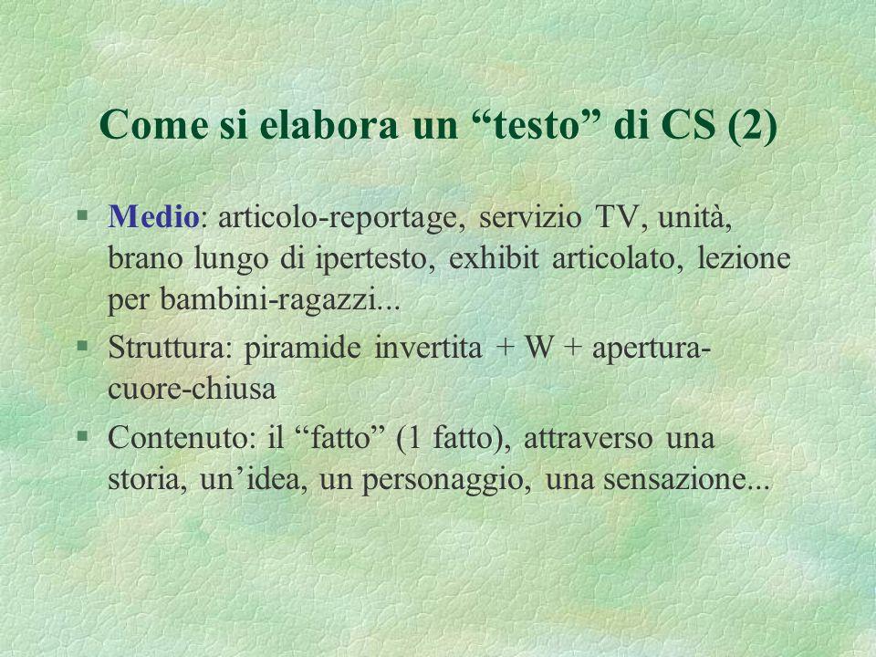 Come si elabora un testo di CS (1) §Breve: news, comunicato stampa, scheda TV, unità o lemma di ipertesto, momento manipolativo, flash percettivo… §St