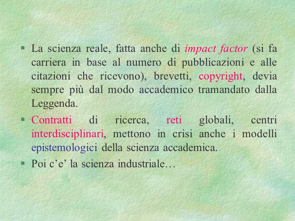 CUDOS e kudos Ma Merton non basta Fattori diversi hanno cambiato il modo di fare scienza. Si chiamano: §Collettivizzazione della ricerca §Industrializ