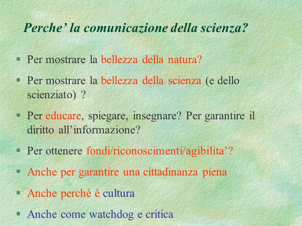 Quale comunicatore della scienza in unera post-accademica? E un animale nuovo? O tanti animali nuovi? A che serve? Cosa deve fare? E allora?