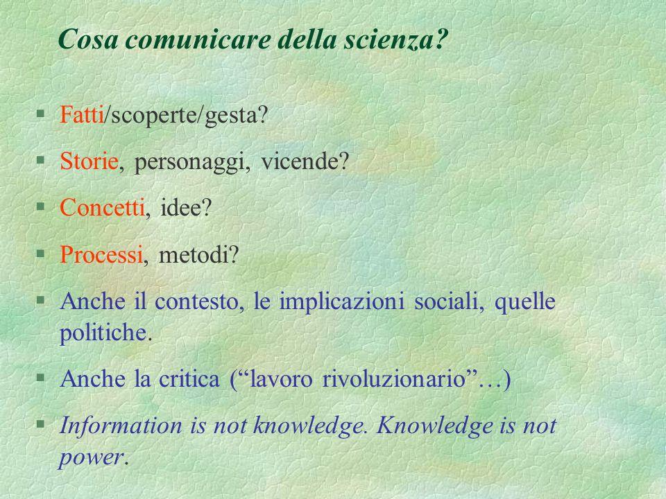 Perche la comunicazione della scienza? §Per mostrare la bellezza della natura? §Per mostrare la bellezza della scienza (e dello scienziato) ? §Per edu