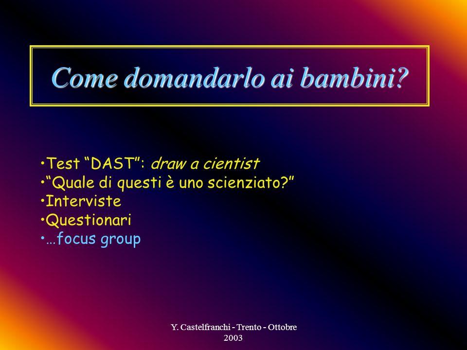 Y. Castelfranchi - Trento - Ottobre 2003 I nostri obiettivi Mettere a fuoco laspetto attivo della costruzione dellimmaginario scientifico: Cosa sanno