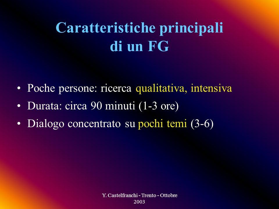 Y. Castelfranchi - Trento - Ottobre 2003 I partecipanti sono stimolati al dialogo, a condividere esperienze, bisogni, ecc. La conversazione è gestita