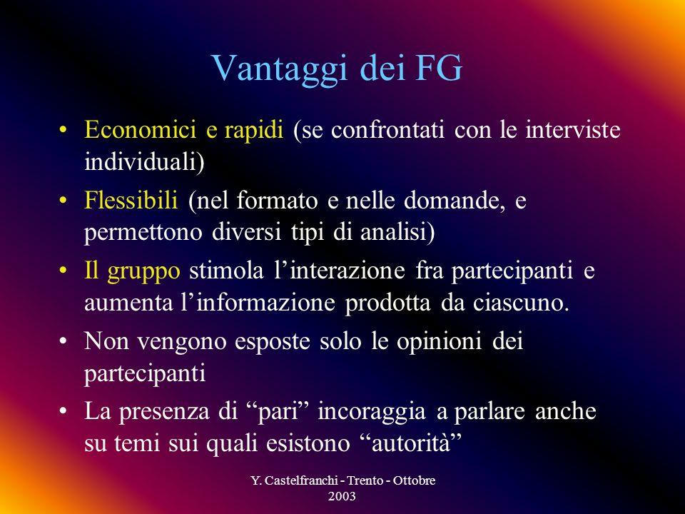 Y. Castelfranchi - Trento - Ottobre 2003 Il FG è il contrario di un questionario E ricerca puramente qualitativa, mentre il survey (questionário) è pr
