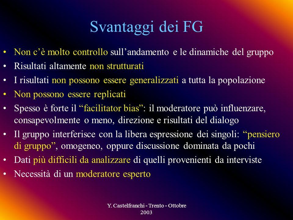 Y. Castelfranchi - Trento - Ottobre 2003 Vantaggi dei FG Economici e rapidi (se confrontati con le interviste individuali) Flessibili (nel formato e n