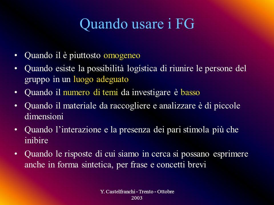 Y. Castelfranchi - Trento - Ottobre 2003 Non cè molto controllo sullandamento e le dinamiche del gruppo Risultati altamente non strutturati I risultat