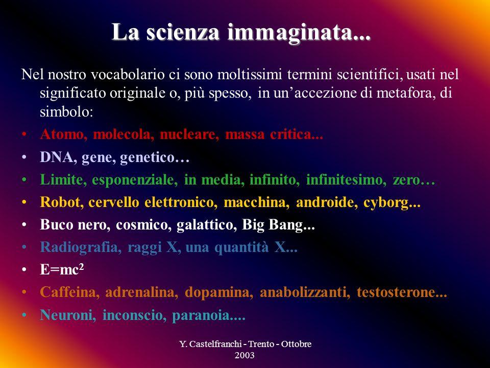 Y. Castelfranchi - Trento - Ottobre 2003 Società Scienza applicata Come entra la scienza nella società? Scienza pura Immaginario collettivo Pratica qu
