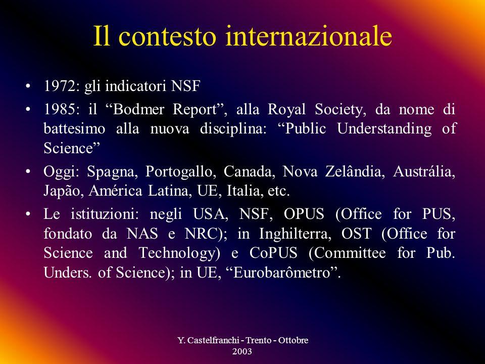 Y. Castelfranchi - Trento - Ottobre 2003 Perché è difficile comunicare la scienza al pubblico.