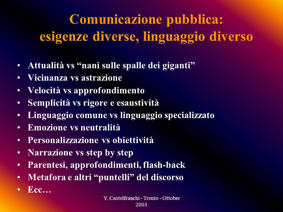 Y. Castelfranchi - Trento - Ottobre 2003 emozione spazio Cosmologia astrofisica Matematica Fisica Biotecnologia