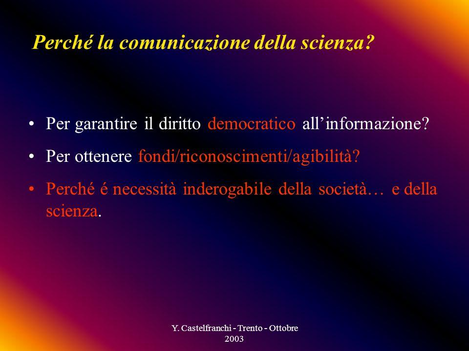 Y. Castelfranchi - Trento - Ottobre 2003 Perché la comunicazione della scienza.