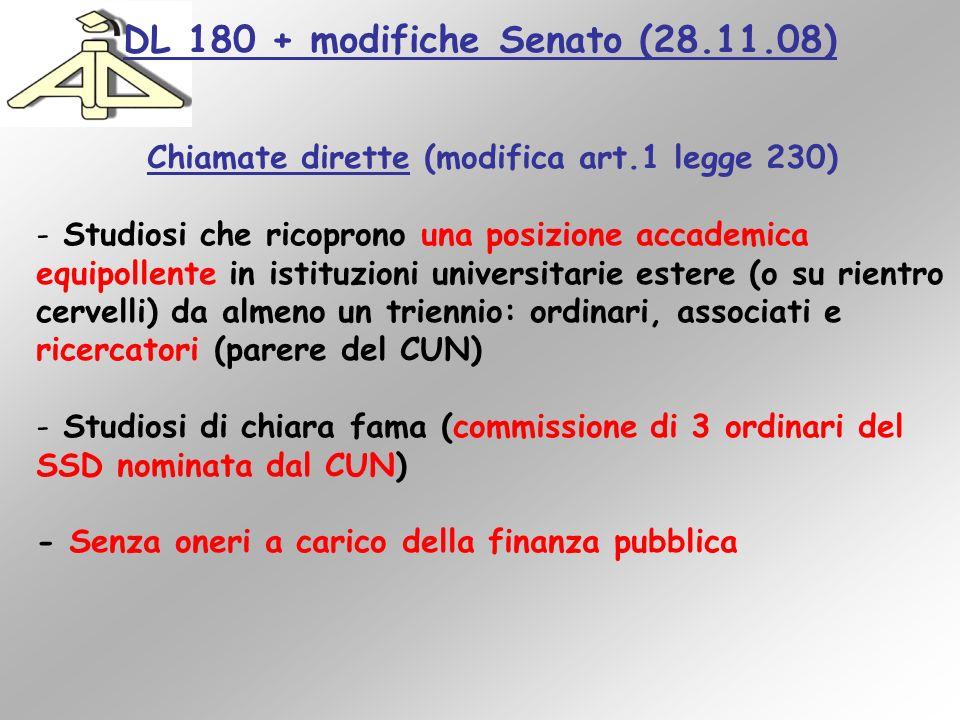 DL 180 + modifiche Senato (28.11.08) Chiamate dirette (modifica art.1 legge 230) - Studiosi che ricoprono una posizione accademica equipollente in ist