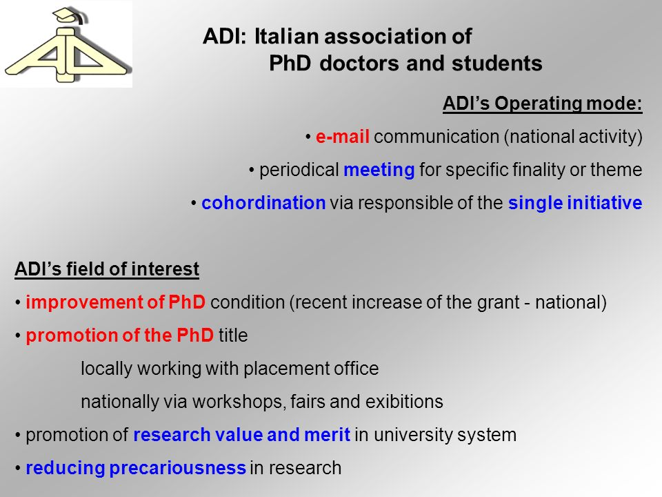 Italian University People (from il Sole 24 ore) FULL PROF.:18.721 ASSOCIATE PR.:17.898 RESEARCHERS:22.910 Funding (very approx % of Trento balance year 2006) ordinary ministerial fund (FFO) of which max 90% can be devoted to salaries of permanent positions (40%) student taxes (7%) projects (PRIN – EU – …) special funds (institution fund for Trento – 5%) other financers – Trento with program agreement with province (20 – 40%) Problems (just to mention some) changing to 3+2 ordering multiplication of courses and cost + increase of prof.