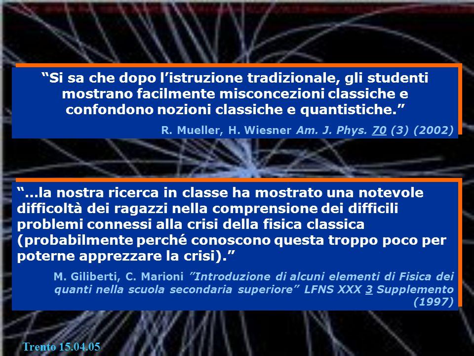 Si sa che dopo listruzione tradizionale, gli studenti mostrano facilmente misconcezioni classiche e confondono nozioni classiche e quantistiche. R. Mu