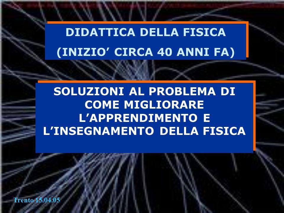 DIDATTICA DELLA FISICA (INIZIO CIRCA 40 ANNI FA) DIDATTICA DELLA FISICA (INIZIO CIRCA 40 ANNI FA) SOLUZIONI AL PROBLEMA DI COME MIGLIORARE LAPPRENDIME