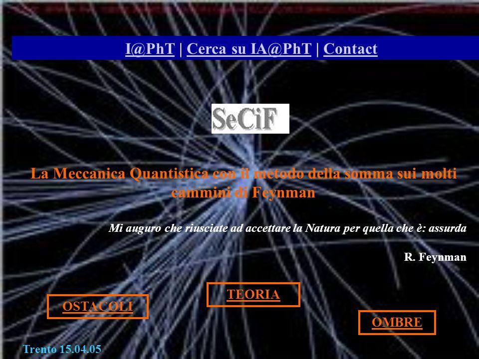 Torino Trento 15.04.05 I@PhTI@PhT | Cerca su IA@PhT | ContactCerca su IA@PhTContact La Meccanica Quantistica con il metodo della somma sui molti cammi