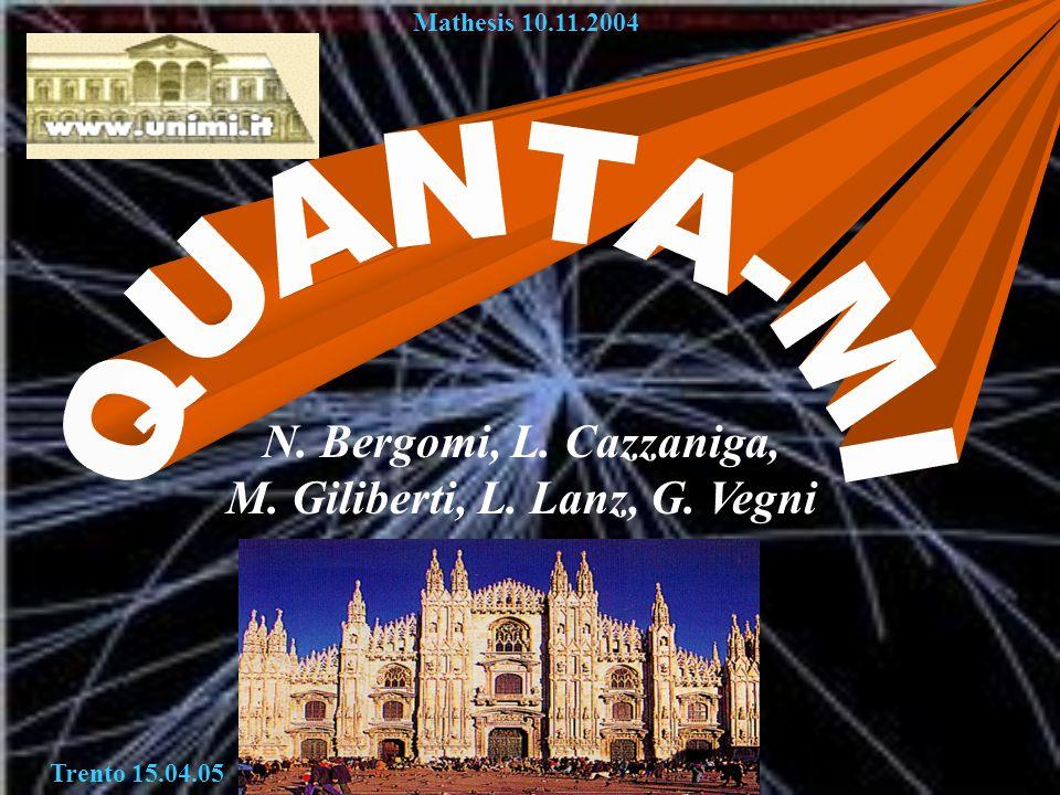 Quanta-Mi N. Bergomi, L. Cazzaniga, M. Giliberti, L. Lanz, G. Vegni Mathesis 10.11.2004 Trento 15.04.05