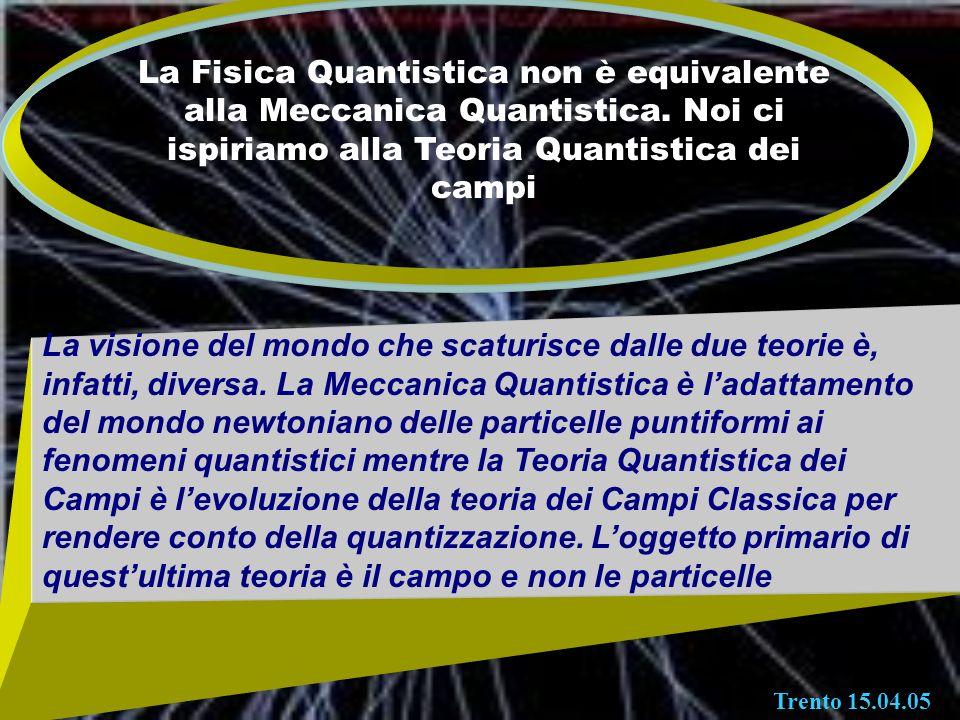 La Fisica Quantistica non è equivalente alla Meccanica Quantistica. Noi ci ispiriamo alla Teoria Quantistica dei campi La visione del mondo che scatur