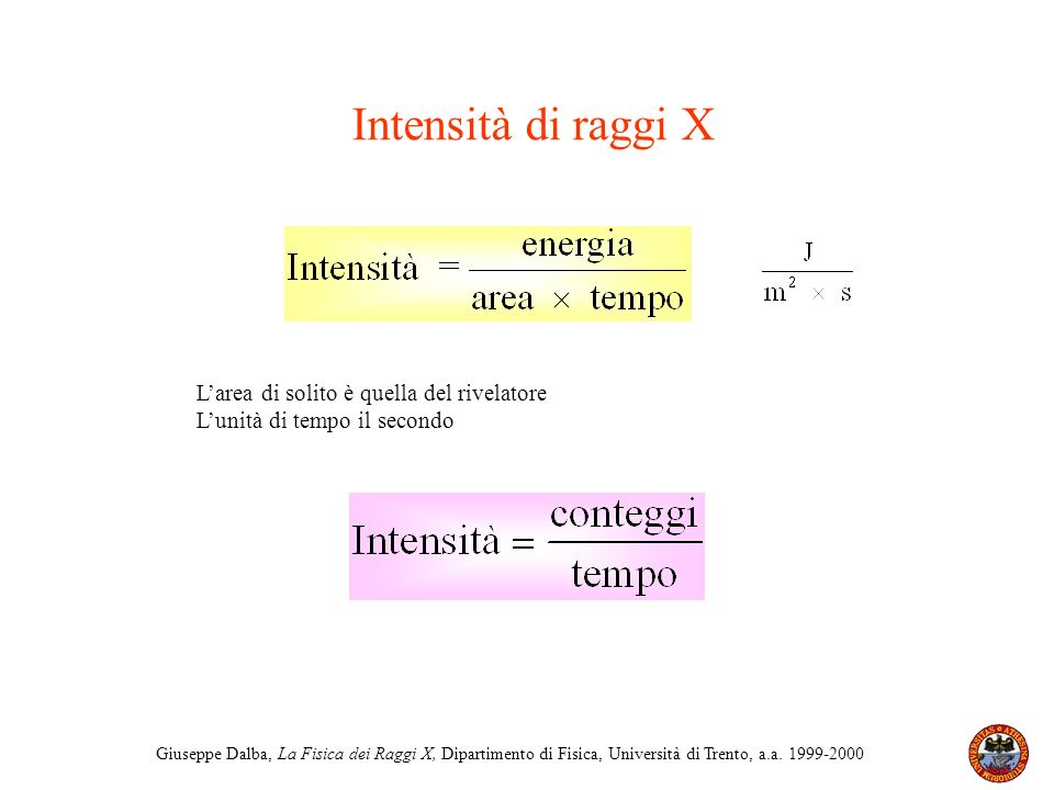 Giuseppe Dalba, La Fisica dei Raggi X, Dipartimento di Fisica, Università di Trento, a.a. 1999-2000 Intensità di raggi X Larea di solito è quella del