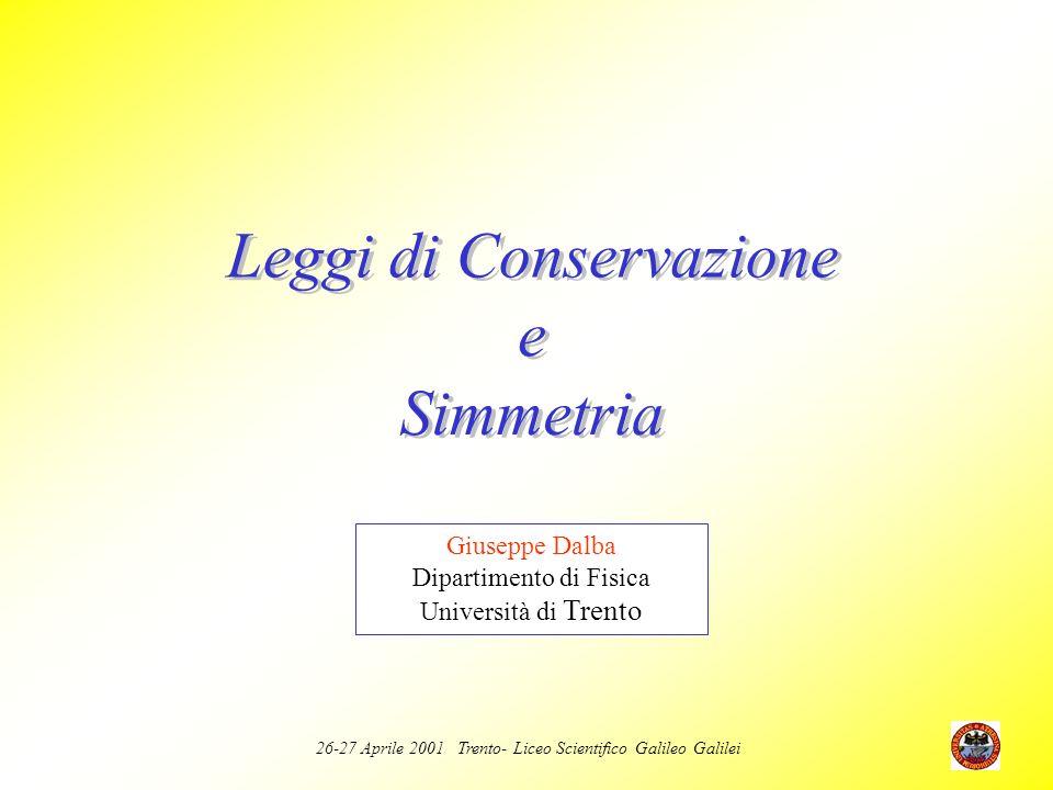 26-27 Aprile 2001 Trento- Liceo Scientifico Galileo Galilei Annichilazione e creazione ed di coppie e + ed e - Conservazione della quantità di moto Conservazione dellenergia a riposo