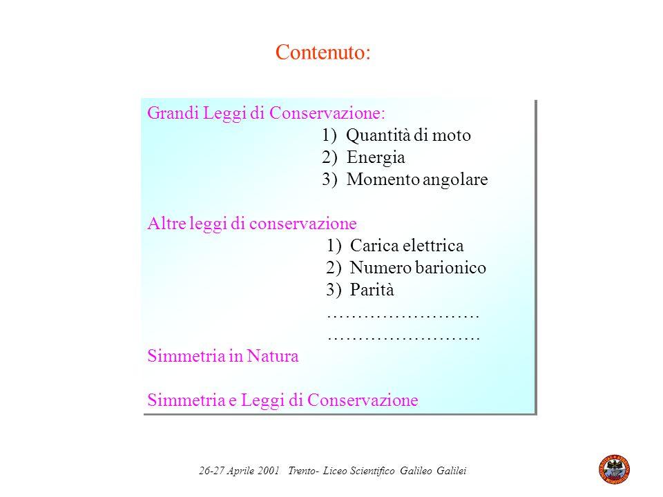 26-27 Aprile 2001 Trento- Liceo Scientifico Galileo Galilei Nel 1906 Emmy Noether dimostrò il seguente teorema Per ogni simmetria continua delle leggi della Fisica esiste una legge di conservazione.