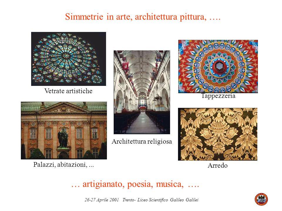26-27 Aprile 2001 Trento- Liceo Scientifico Galileo Galilei Architettura religiosa Tappezzeria Arredo Vetrate artistiche Palazzi, abitazioni,... Simme