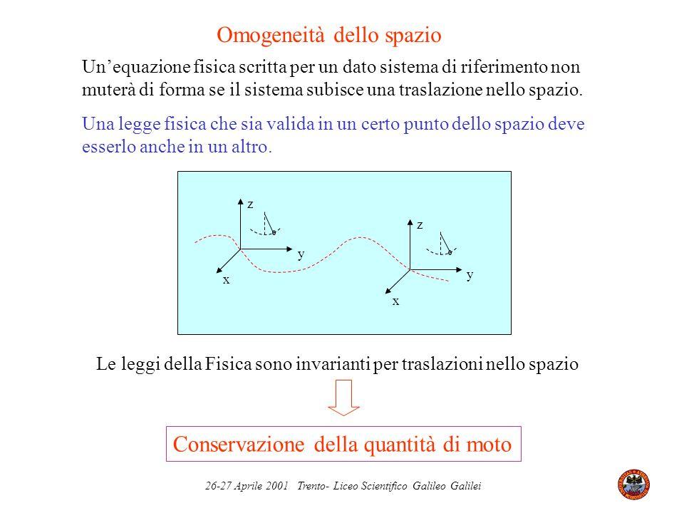 26-27 Aprile 2001 Trento- Liceo Scientifico Galileo Galilei Unequazione fisica scritta per un dato sistema di riferimento non muterà di forma se il si