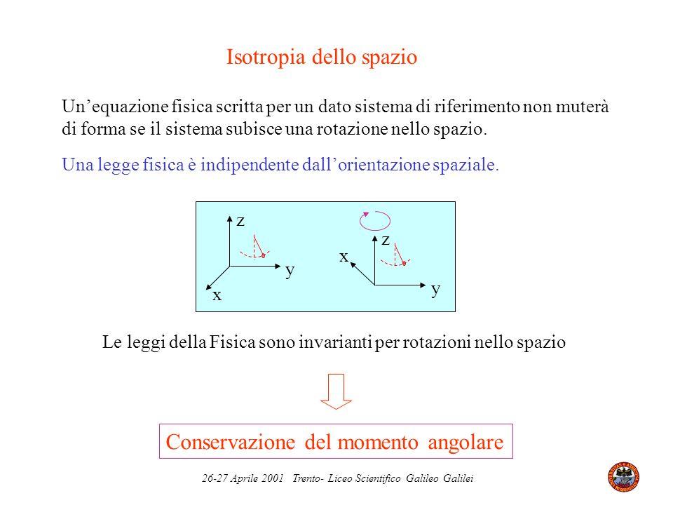 26-27 Aprile 2001 Trento- Liceo Scientifico Galileo Galilei Le leggi della Fisica sono invarianti per rotazioni nello spazio Unequazione fisica scritt