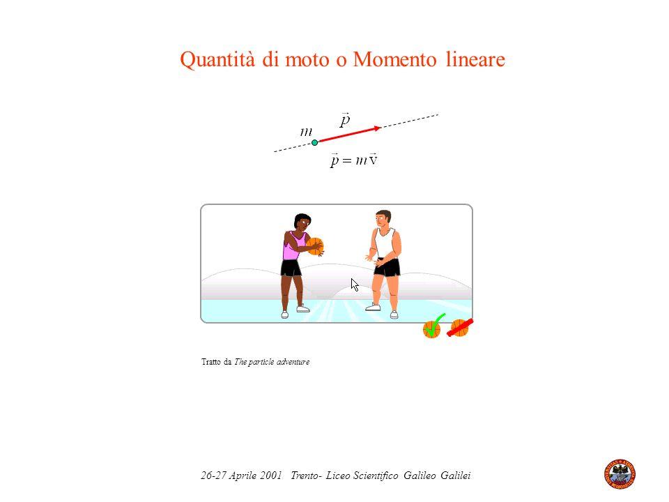 26-27 Aprile 2001 Trento- Liceo Scientifico Galileo Galilei Vettori polari ed assiali Vettori polari Vettori assiali x y v z y v z v = (v x,v y,v z ) v = (-v x,v y,v z ) - x x Specchio Mentre il vettore spostamento r = x x + y 0 y + z 0 z cambia verso per riflessione nello specchio, il vettore assiale mantiene il proprio verso.