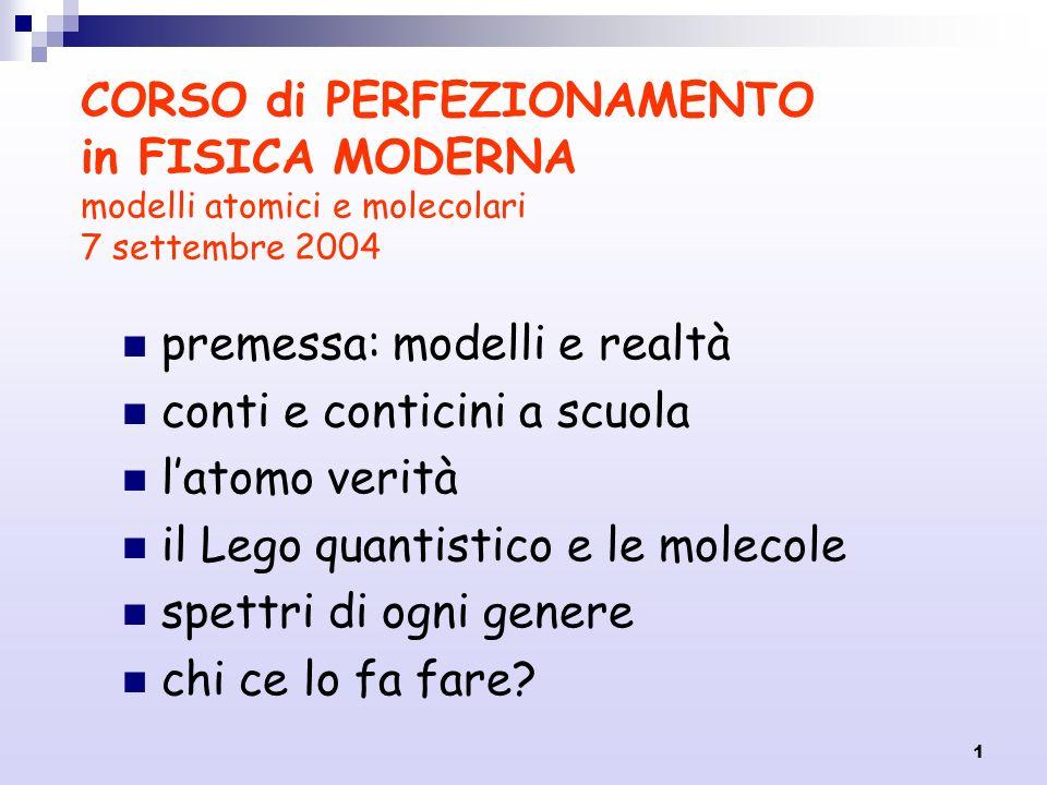 1 CORSO di PERFEZIONAMENTO in FISICA MODERNA modelli atomici e molecolari 7 settembre 2004 premessa: modelli e realtà conti e conticini a scuola latom