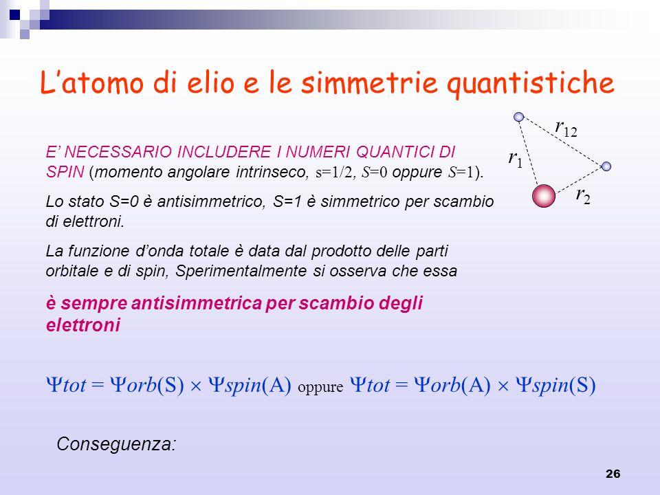 26 Latomo di elio e le simmetrie quantistiche r1r1 r2r2 r 12 E NECESSARIO INCLUDERE I NUMERI QUANTICI DI SPIN (momento angolare intrinseco, s=1/2, S=0