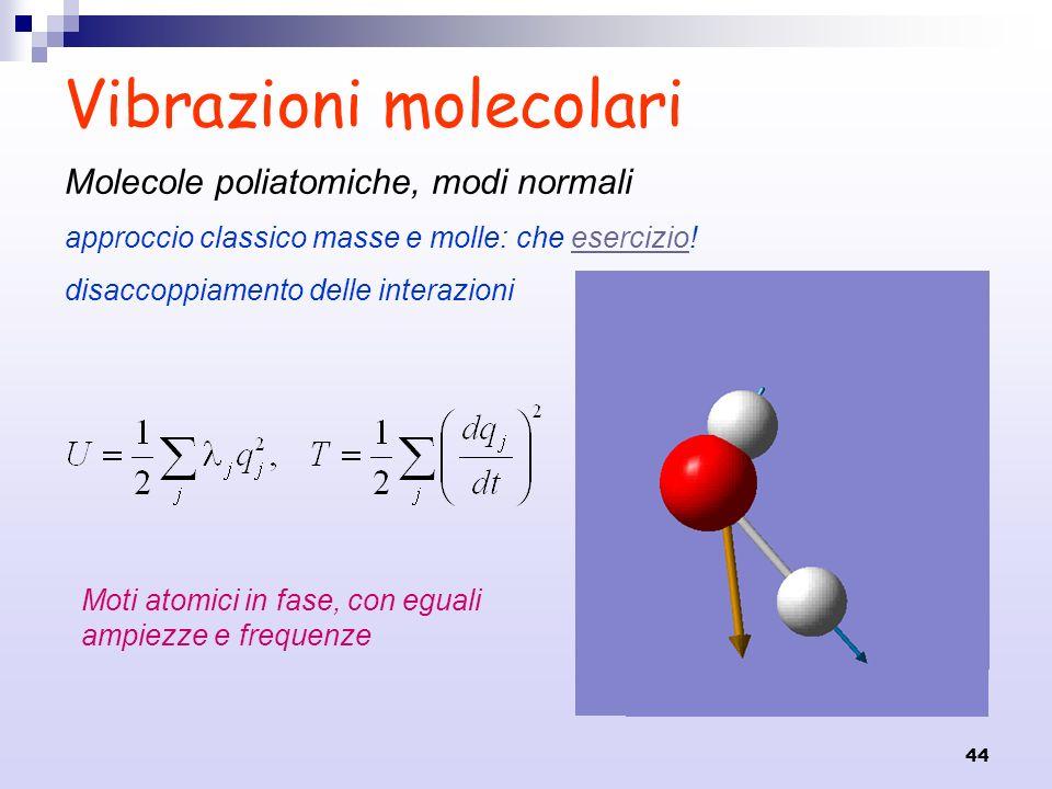 44 Vibrazioni molecolari Molecole poliatomiche, modi normali approccio classico masse e molle: che esercizio!esercizio disaccoppiamento delle interazi