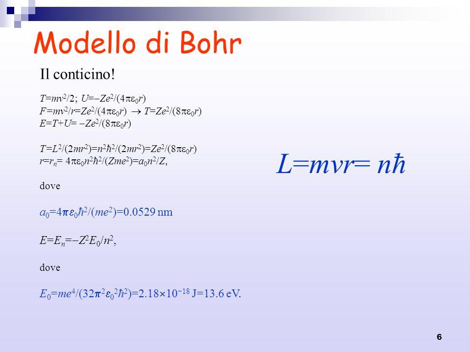6 Modello di Bohr L=mvr= nħ Il conticino! T=mv 2 /2; U= Ze 2 /(4 0 r) F=mv 2 /r=Ze 2 /(4 0 r) T=Ze 2 /(8 0 r) E=T+U= Ze 2 /(8 0 r) T=L 2 /(2mr 2 )=n 2