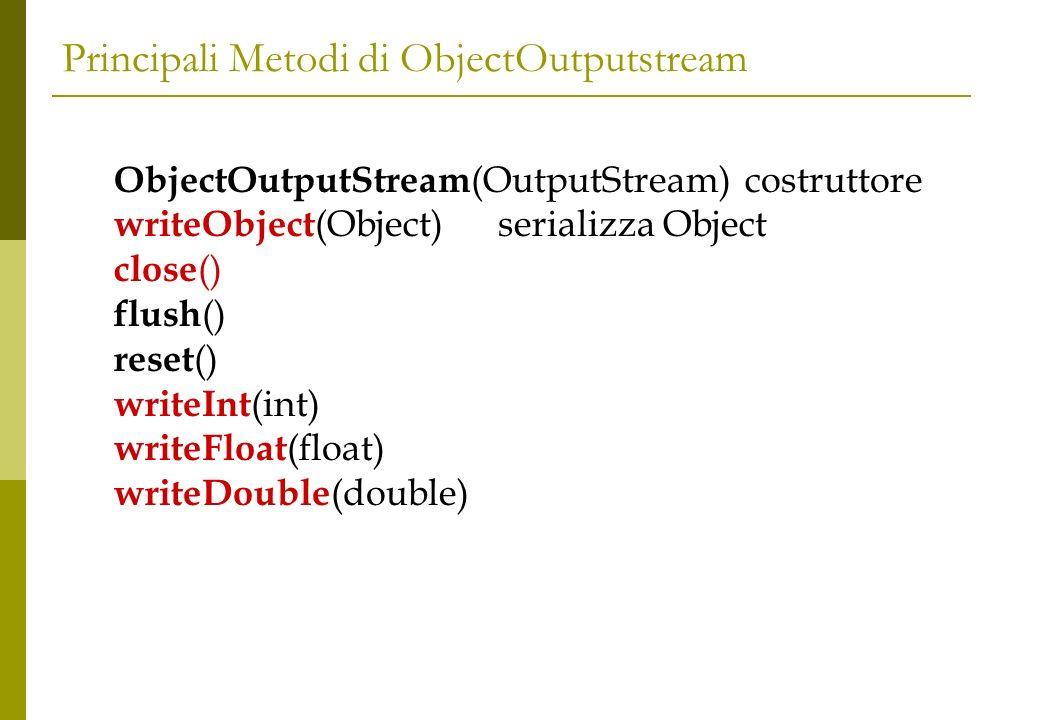 Principali Metodi di ObjectInputstream ObjectInputStream (InputStream) costruttore Object readObject ()deserializza Object available ()dice quanti bytes ci sono da leggere int readInt () float writeFloat () double writeDouble () registerValidation (ObjectValidation,int)
