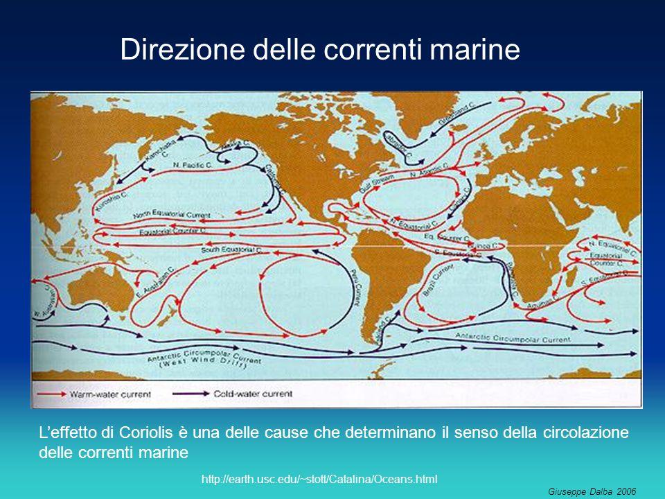 Giuseppe Dalba 2006 http://earth.usc.edu/~stott/Catalina/Oceans.html Direzione delle correnti marine Leffetto di Coriolis è una delle cause che determinano il senso della circolazione delle correnti marine