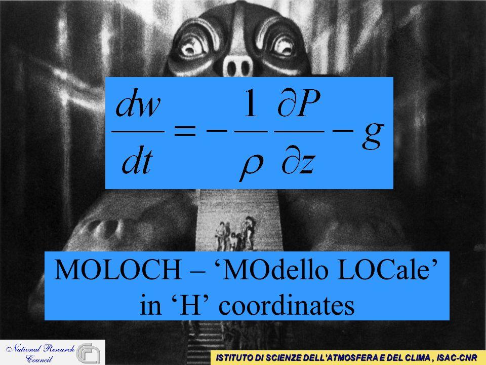 MOLOCH – MOdello LOCale in H coordinates ISTITUTO DI SCIENZE DELL ATMOSFERA E DEL CLIMA, ISAC-CNR