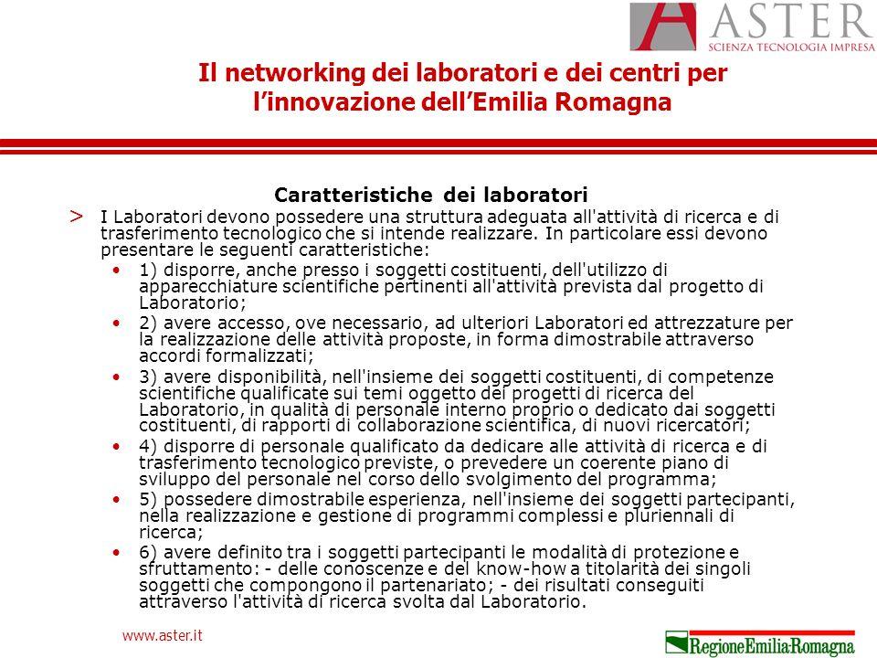 Il networking dei laboratori e dei centri per linnovazione dellEmilia Romagna www.aster.it Caratteristiche dei laboratori > I Laboratori devono possedere una struttura adeguata all attività di ricerca e di trasferimento tecnologico che si intende realizzare.