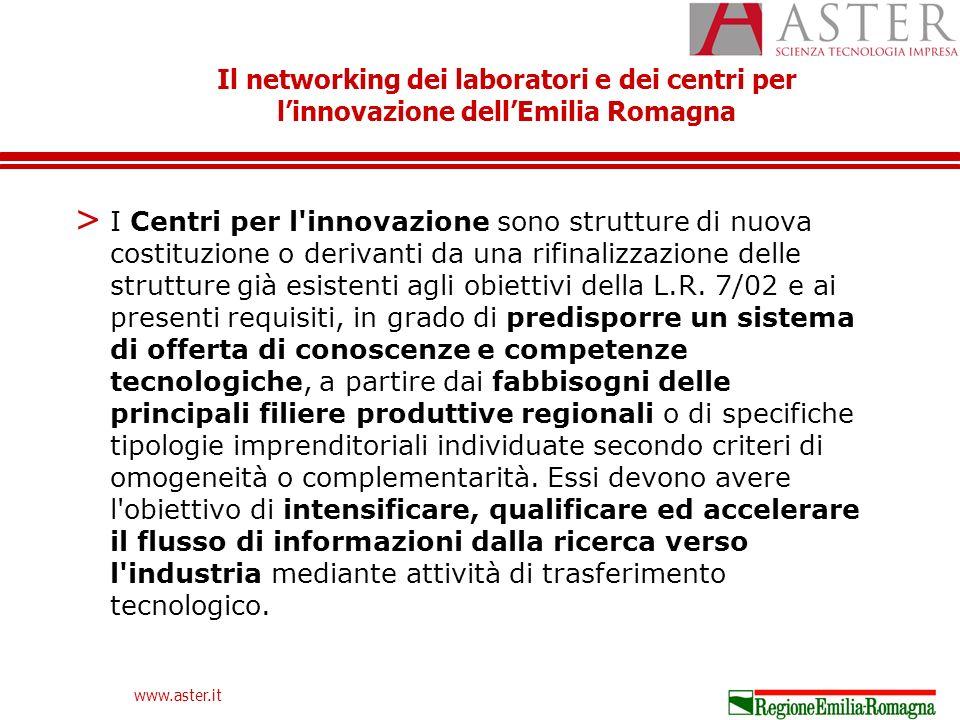 Il networking dei laboratori e dei centri per linnovazione dellEmilia Romagna www.aster.it > I Centri per l innovazione sono strutture di nuova costituzione o derivanti da una rifinalizzazione delle strutture già esistenti agli obiettivi della L.R.