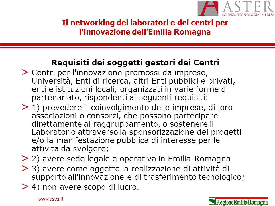 Il networking dei laboratori e dei centri per linnovazione dellEmilia Romagna www.aster.it Requisiti dei soggetti gestori dei Centri > Centri per l innovazione promossi da imprese, Università, Enti di ricerca, altri Enti pubblici e privati, enti e istituzioni locali, organizzati in varie forme di partenariato, rispondenti ai seguenti requisiti: > 1) prevedere il coinvolgimento delle imprese, di loro associazioni o consorzi, che possono partecipare direttamente al raggruppamento, o sostenere il Laboratorio attraverso la sponsorizzazione dei progetti e/o la manifestazione pubblica di interesse per le attività da svolgere; > 2) avere sede legale e operativa in Emilia-Romagna > 3) avere come oggetto la realizzazione di attività di supporto all innovazione e di trasferimento tecnologico; > 4) non avere scopo di lucro.