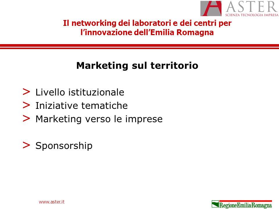 Il networking dei laboratori e dei centri per linnovazione dellEmilia Romagna www.aster.it Marketing sul territorio > Livello istituzionale > Iniziative tematiche > Marketing verso le imprese > Sponsorship