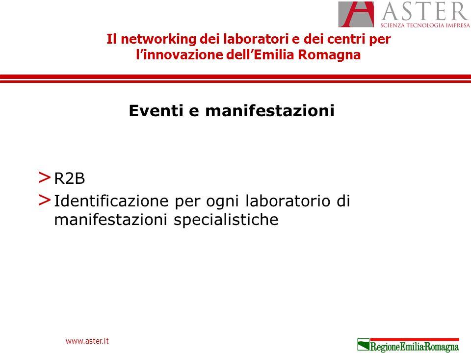 Il networking dei laboratori e dei centri per linnovazione dellEmilia Romagna www.aster.it Eventi e manifestazioni > R2B > Identificazione per ogni laboratorio di manifestazioni specialistiche
