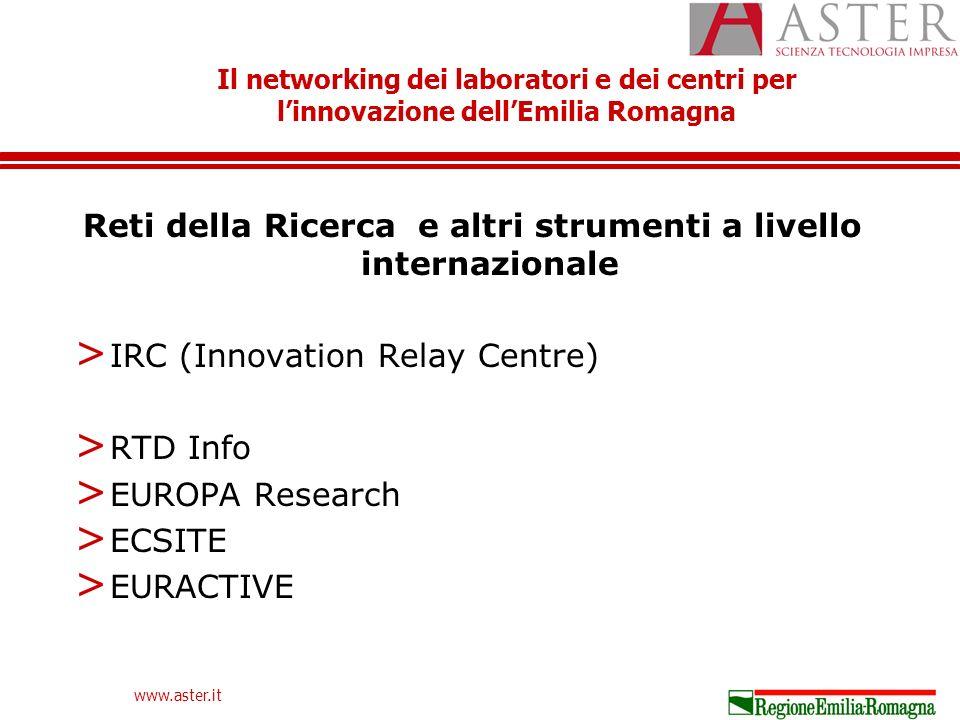 Il networking dei laboratori e dei centri per linnovazione dellEmilia Romagna www.aster.it Reti della Ricerca e altri strumenti a livello internazionale > IRC (Innovation Relay Centre) > RTD Info > EUROPA Research > ECSITE > EURACTIVE
