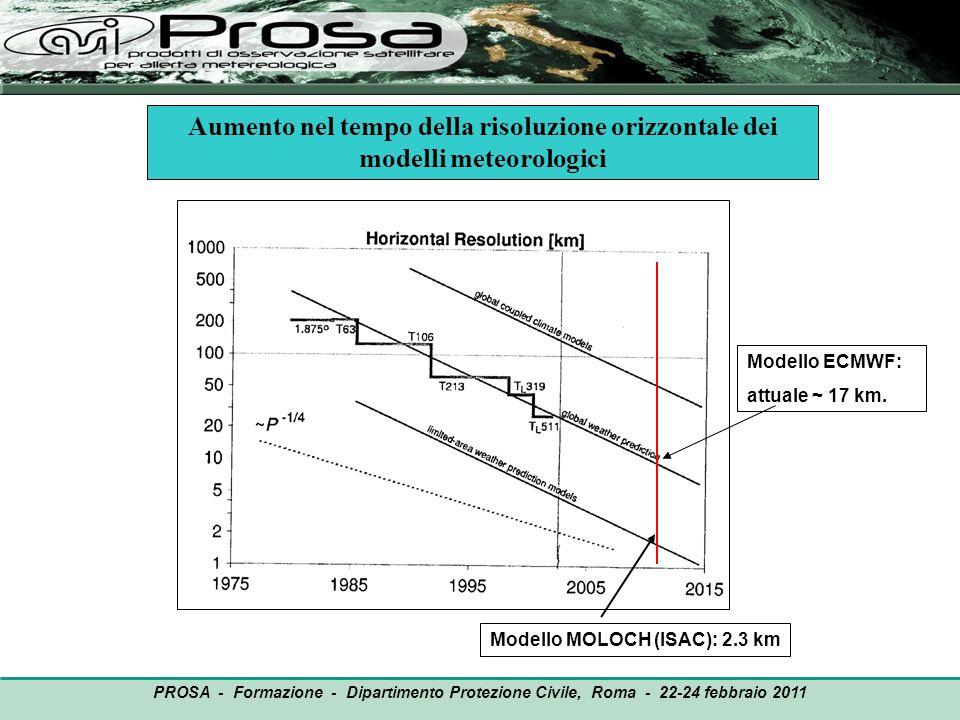 OUTPUT PROSA - Formazione - Dipartimento Protezione Civile, Roma - 22-24 febbraio 2011 Aumento nel tempo della risoluzione orizzontale dei modelli met