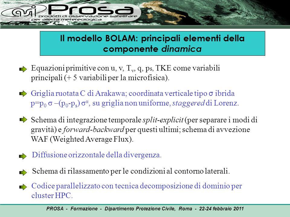 OUTPUT PROSA - Formazione - Dipartimento Protezione Civile, Roma - 22-24 febbraio 2011 Il modello BOLAM: principali elementi della componente dinamica