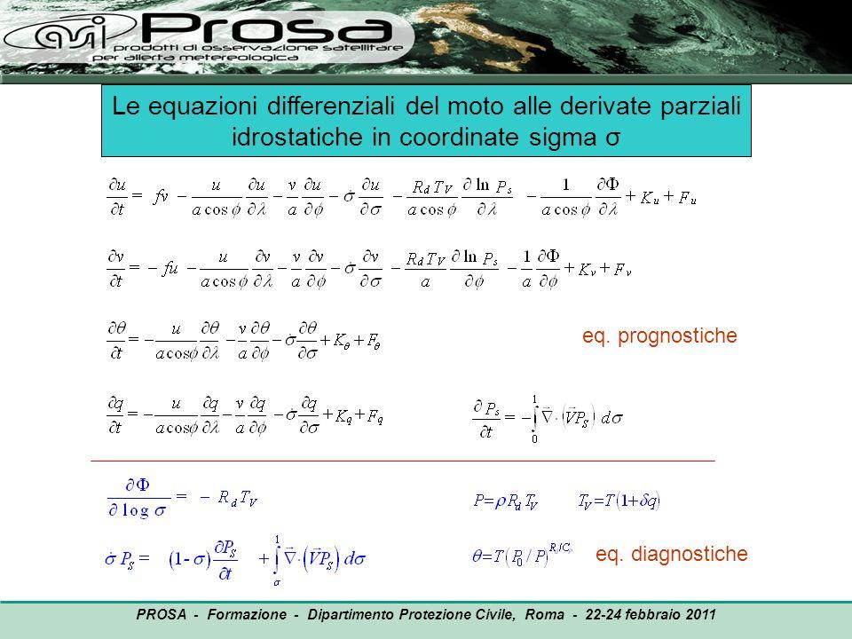 PROSA - Formazione - Dipartimento Protezione Civile, Roma - 22-24 febbraio 2011 Le equazioni differenziali del moto alle derivate parziali idrostatich