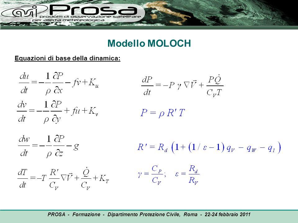 Modello MOLOCH Equazioni di base della dinamica: PROSA - Formazione - Dipartimento Protezione Civile, Roma - 22-24 febbraio 2011