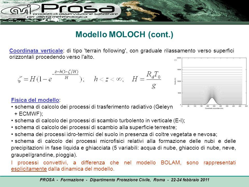 Coordinata verticale: di tipo 'terrain following', con graduale rilassamento verso superfici orizzontali procedendo verso l'alto. Modello MOLOCH (cont