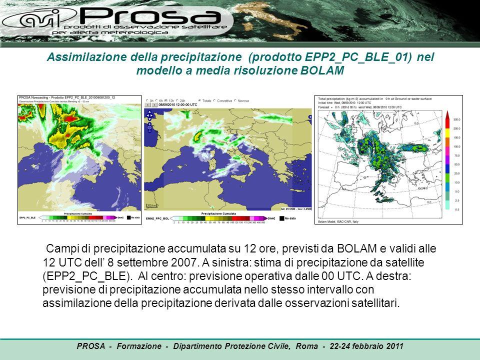Assimilazione della precipitazione (prodotto EPP2_PC_BLE_01) nel modello a media risoluzione BOLAM Campi di precipitazione accumulata su 12 ore, previ