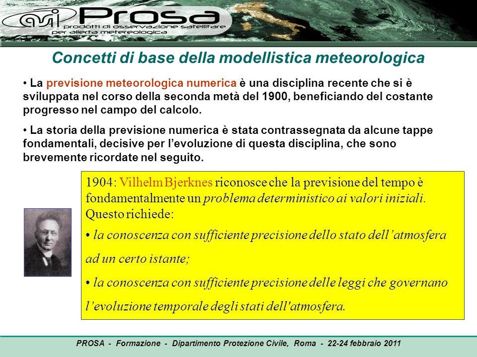 OUTPUT PROSA - Formazione - Dipartimento Protezione Civile, Roma - 22-24 febbraio 2011 Concetti di base della modellistica meteorologica 1904: Vilhelm