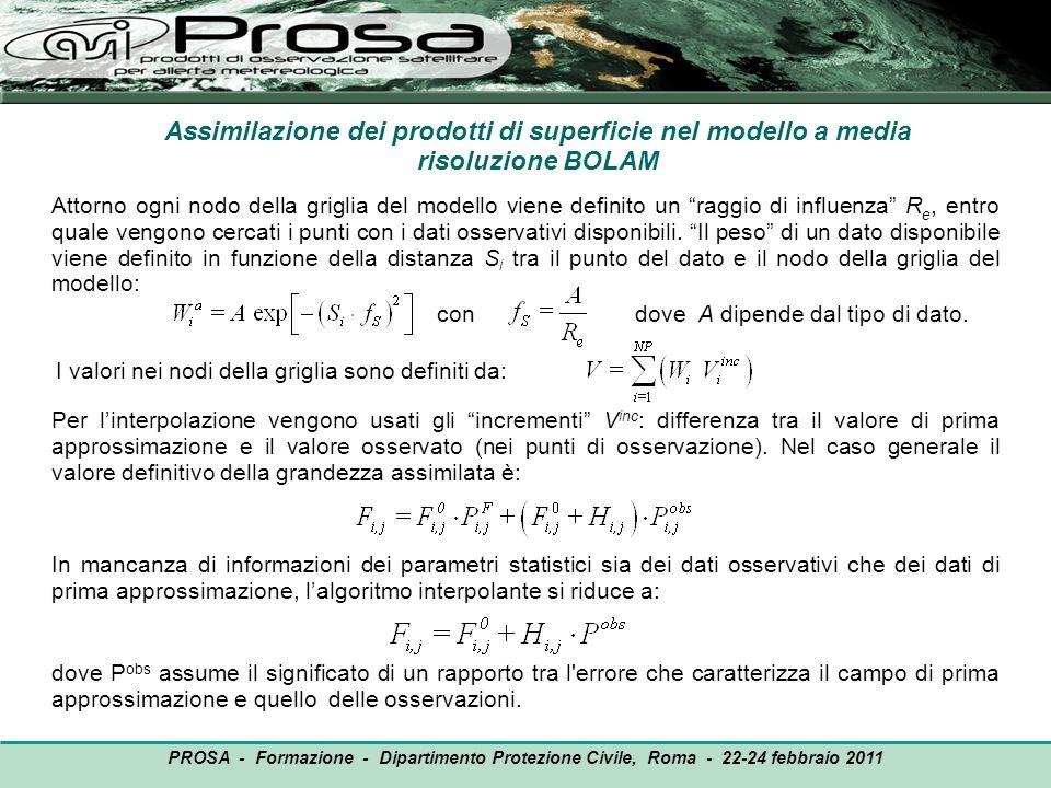 Assimilazione dei prodotti di superficie nel modello a media risoluzione BOLAM Attorno ogni nodo della griglia del modello viene definito un raggio di