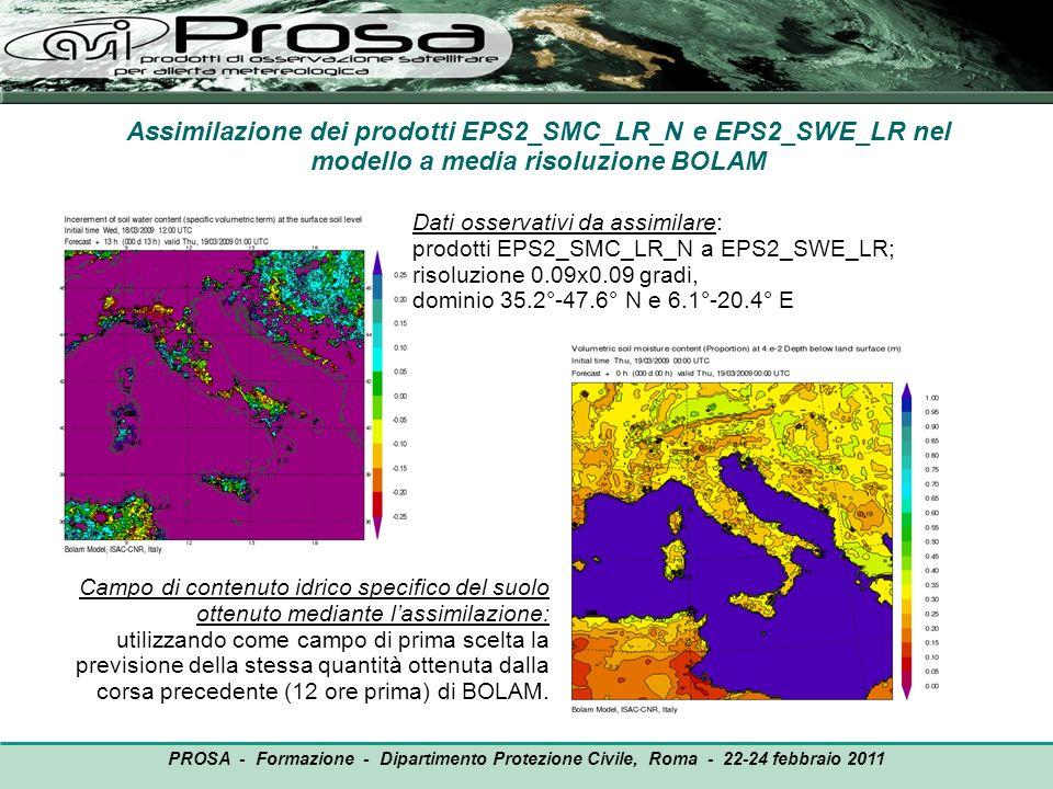 Assimilazione dei prodotti EPS2_SMC_LR_N e EPS2_SWE_LR nel modello a media risoluzione BOLAM Campo di contenuto idrico specifico del suolo ottenuto me